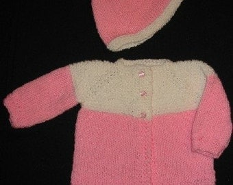 Pink and White Baby Sweater and Hat Set