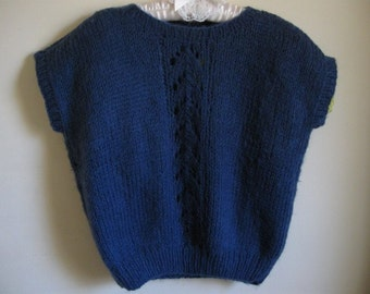 Handknit Navy Vest  with Lace Design for Ladies