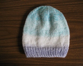 Handknit Turquoise, White and Blue Sweet Dreams Hat for Toddlers