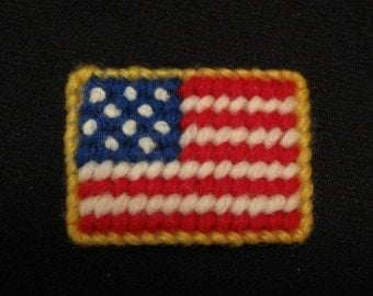 American Flag Needlepoint Magnet in Red, White and Blue