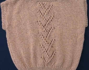 Hand Knit Lace Panel Top in Tan for Women