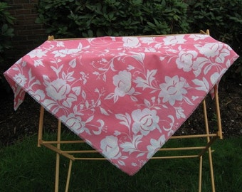 Bright Pink and White Floral Shawl