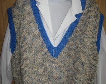 Handknit V-Neck Sleeveless Blue Tweed Vest for Ladies