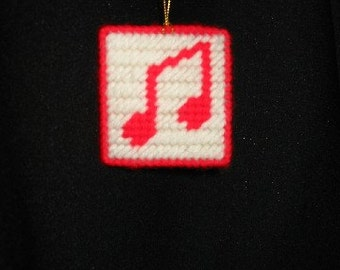 Music Notes Needlepoint Christmas Ornament