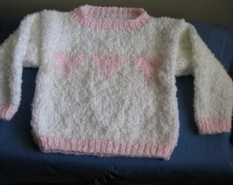 Toddler Sweater in White with Pink Hearts