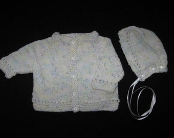 Handknit Baby Sweater and Hat Set in Pastel Multicolor