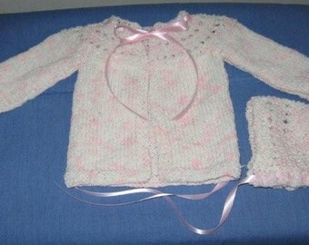 Handknit Pink and White Baby Sweater and Hat