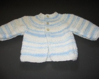 Handknitted Baby Sweater in Blue and White