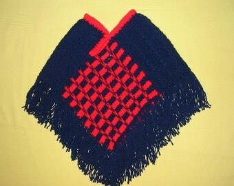 SALE-Red and Navy Handknit Child Poncho