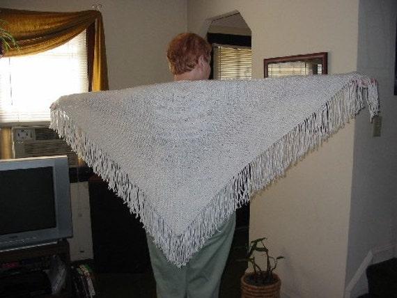 White Handknit Triangle Shawl