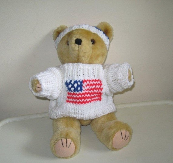 Handknit Patriotic Teddy Bear Sweater and Hat