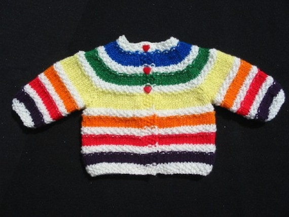 Handknit Baby Rainbow Sweater with Heart Buttons