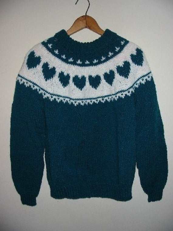 Teal and White Teen,Adult Ski Sweater with a Heart Yoke HandKnitted