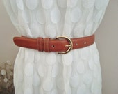 Margot - Classic COACH British Tan Leather Belt.