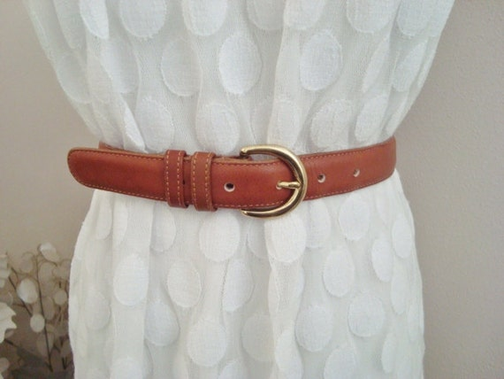 Margot - Classic COACH British Tan Leather Belt.