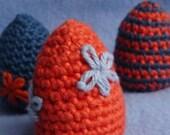 Eco Shaker Eggs Orange and Marine Blue Colors Organic Cotton Crochet