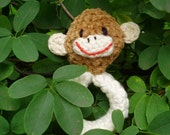 Eco-friendly Baby-safe Crocheted Organic Cotton Baby Rattle--Mr. Monkey