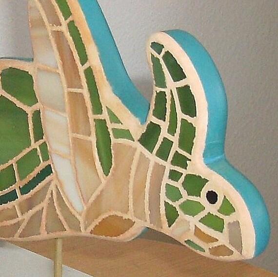 Green Sea Turtle Mosaic Art Mixed Media Sculpture
