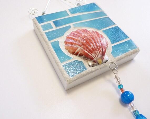 Beach Decor Caribbean Ocean Blue Glass and Seashell Wall Hanging Coastal Home Decor