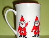 Vintage GEORGES BRIARD Santa Holiday Christmas Ceramic Mug Cup