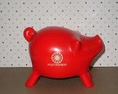 Retro Red PIG Piggy COIN BANK