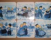 Retro DUTCH CHILDREN COASTERS Set of 6 Blue