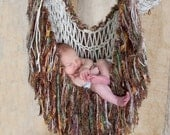 Fringe Baby Blanket Hammock Photo Prop, Green Brown Cream