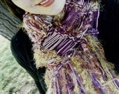 Purple and Gold Scarf, Mauve, Rose, Yellow Hand Knit Fringe Scarf Women Accessories