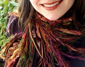 Scarf in Nutmeg Brown, Cinnamon Red and Green Accessories Fringe Women Scarf in Cedar