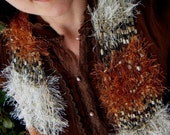 RESERVED 'Rust for Rose' Copper Scarf, Rust Scarf, Ginger Red Fox, Cream and Taupe See Through Lightweight Scarf