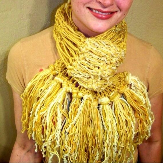 Solid Gold Yellow Sunshine Handknit Scarf