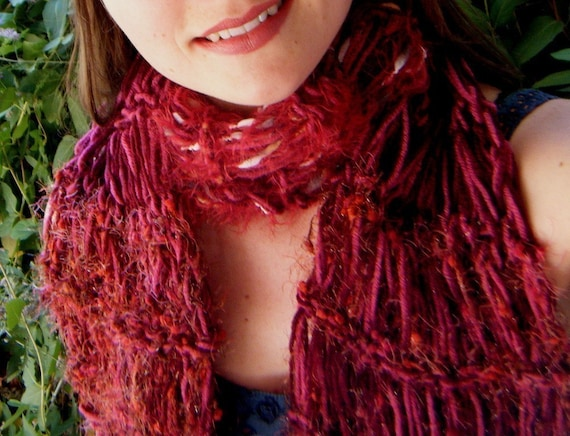 RESERVED Red Raspberry Scarf - Cranberry Bing Cherry, Burgundy, Dark Rose Berry. Chunky Knit Warm Winter Accessories
