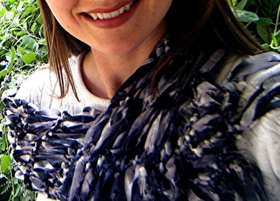 Black and Silver Scarf - Grey and Black Scarf Hand Knit Ribbons with Texture and Gray Scarf Fringe