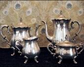 Tea Party in Wonderland - Vintage Estate 4 piece Vintage Silverplate Coffee & Tea Set
