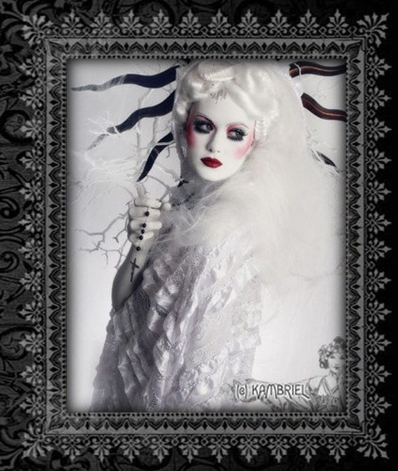 Snow White Satin and Lace Filligree Cape by Kambriel - One of a Kind