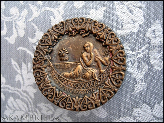 RESERVED - Orientalist Victorian French Picture Button - Egyptian Revival Odalisque in Crescent Moon Boat