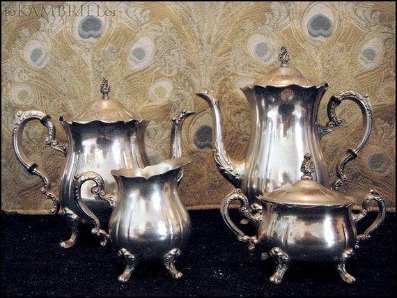 Tea Party in Wonderland - Vintage Estate 4 piece Vintage Silverplate Coffee & Tea Set