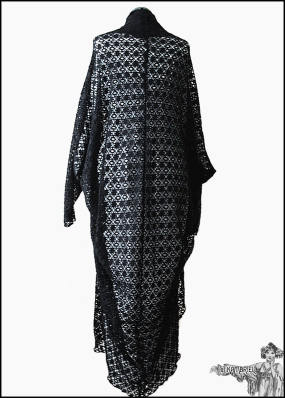 Sheer Black Batwing Sleeved Cocoon Kimono Robe by Kambriel