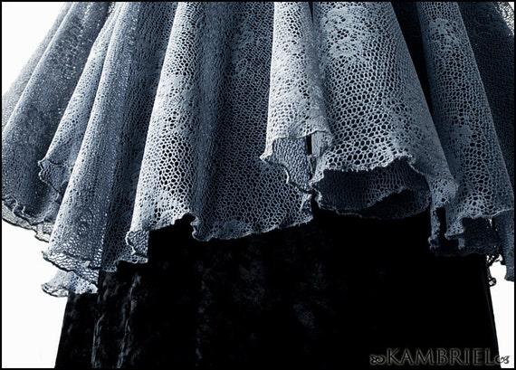 Avalon Mist - Dusky Blue Lace Shadowen Blouse by Kambriel - Brand New