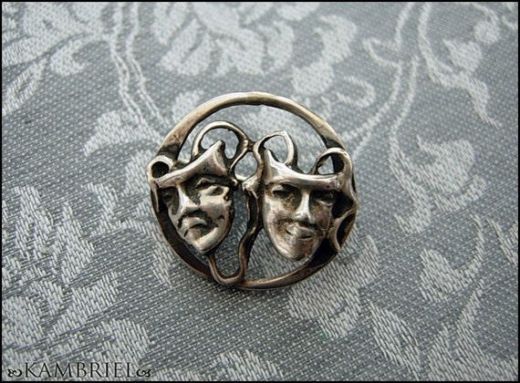 Vintage Estate - Solid Sterling Theatre Comedy Tragedy Masks Brooch - beautiful patina