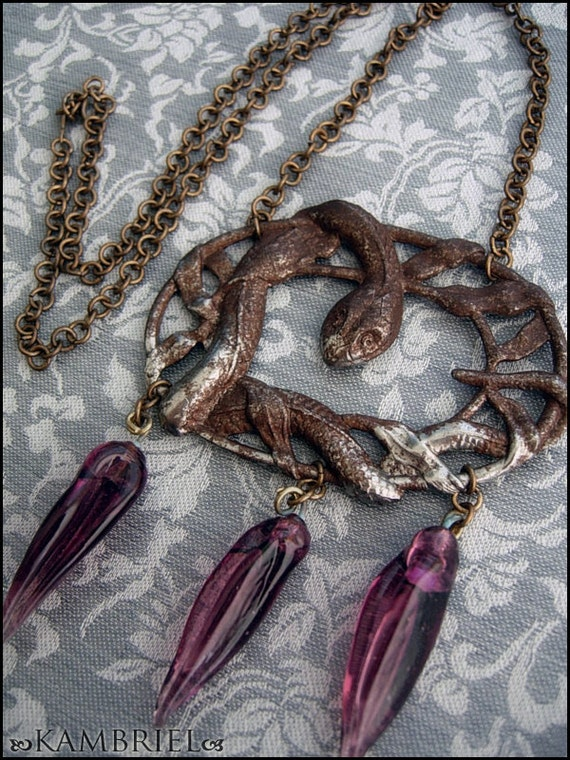 Bronzed Medusa - Art Nouveau Serpent Amulet with antique amethyst glass drops - One of a Kind by Kambriel