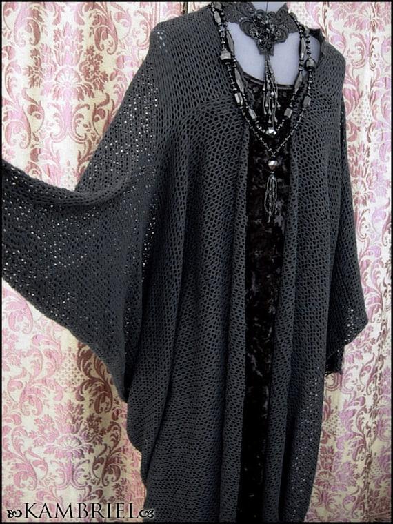 Shadowplay - Black Mesh Batwing Sleeved Kimono Cocoon Robe - Decadent Loungewear