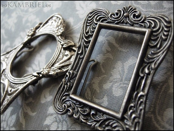 Haunted Dollhouse - Vintage Estate - Set of Two Mini Antique Silver Picture Frames