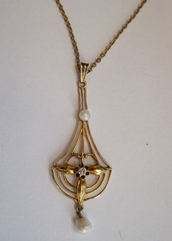 Antique Edwardian 14k Lavalier Necklace With Freshwater Pearls