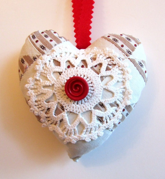 Vintage Patchwork Quilt Heart with Crochet and Button