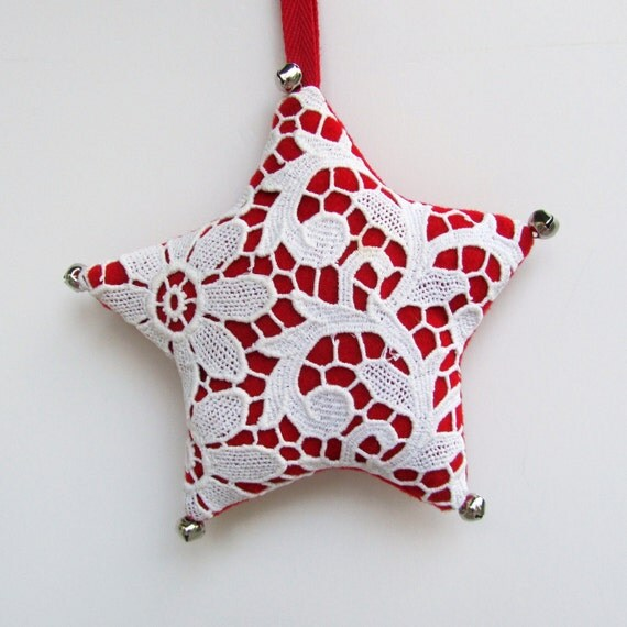 Christmas Star Ornament - Red with Vintage Crochet
