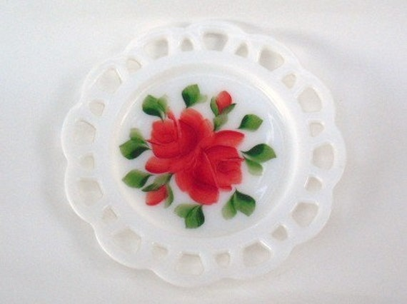 Vintage HANDPAINTED Milk Glass PLATE