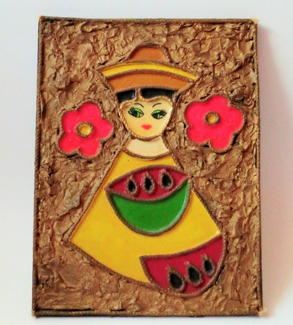 VINTAGE Wall Plaque Little Girl Mod Sixties