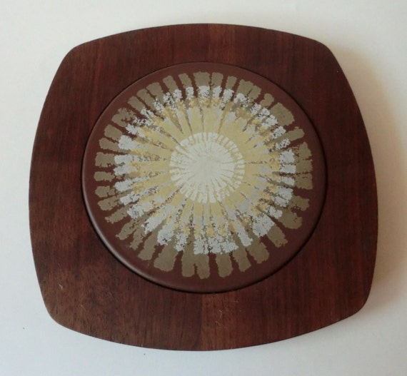 VINTAGE Teak and Tile CHEESE Serving Board