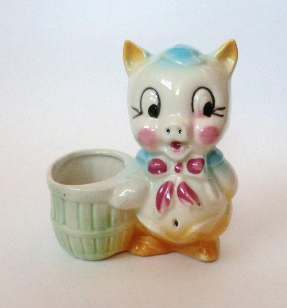 Vintage Ceramic Pig Planter Toothpick Holder